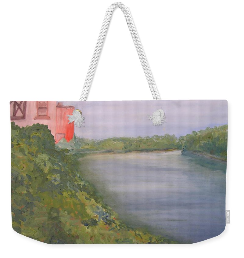 Landscape River Water Nature Weekender Tote Bag featuring the painting View from Edmund Pettus Bridge by Patricia Caldwell