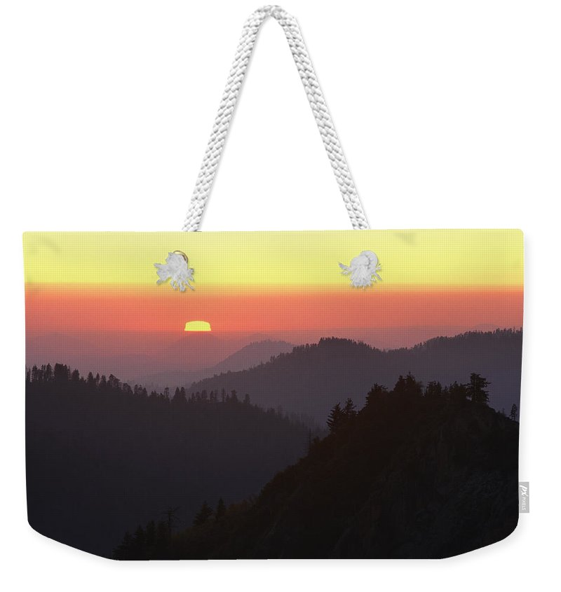 Sequoia National Park Weekender Tote Bag featuring the photograph View From Moro Rock Of Sunset Sky by Marc Moritsch