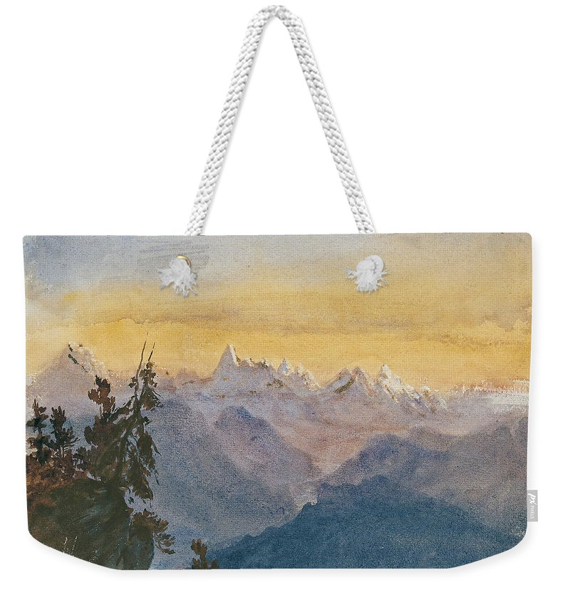 John Singer Sargent Weekender Tote Bag featuring the painting View From Mount Pilatus by John Singer Sargent