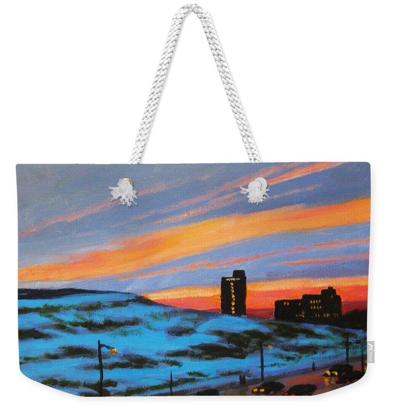 City At Night Weekender Tote Bag featuring the painting View From My Balcony by John Malone