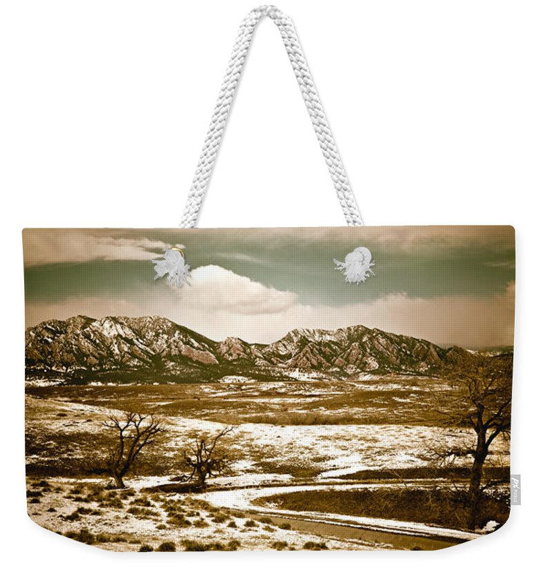 Landscape Weekender Tote Bag featuring the photograph Flatironsview From Superior by Marilyn Hunt