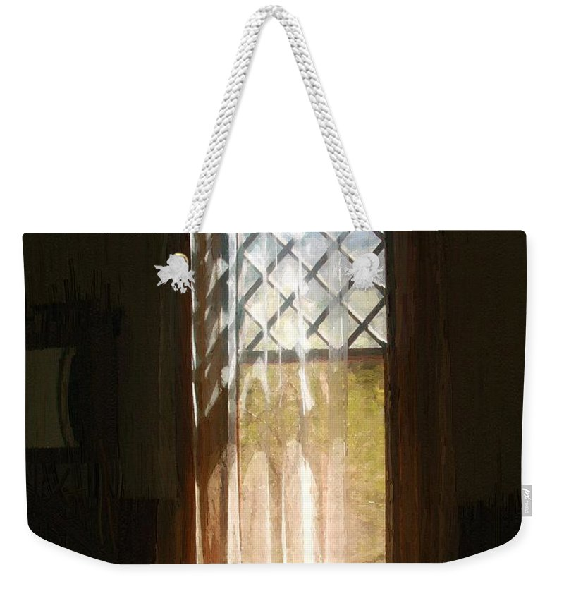 Vintage Weekender Tote Bag featuring the painting View From The Bathroom Window by RC DeWinter