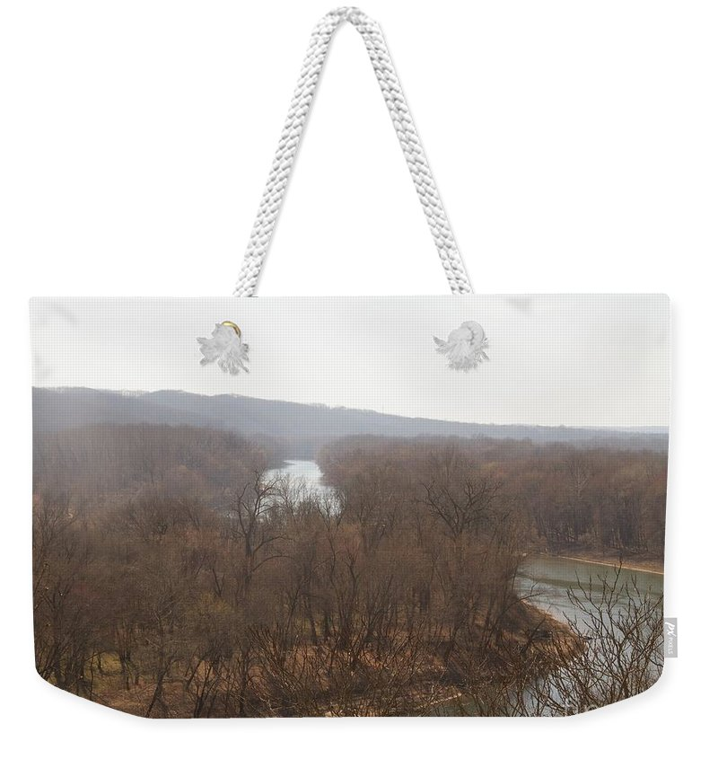 Meramec River Weekender Tote Bag featuring the photograph View From The Bluff by Rebecca Pavelka
