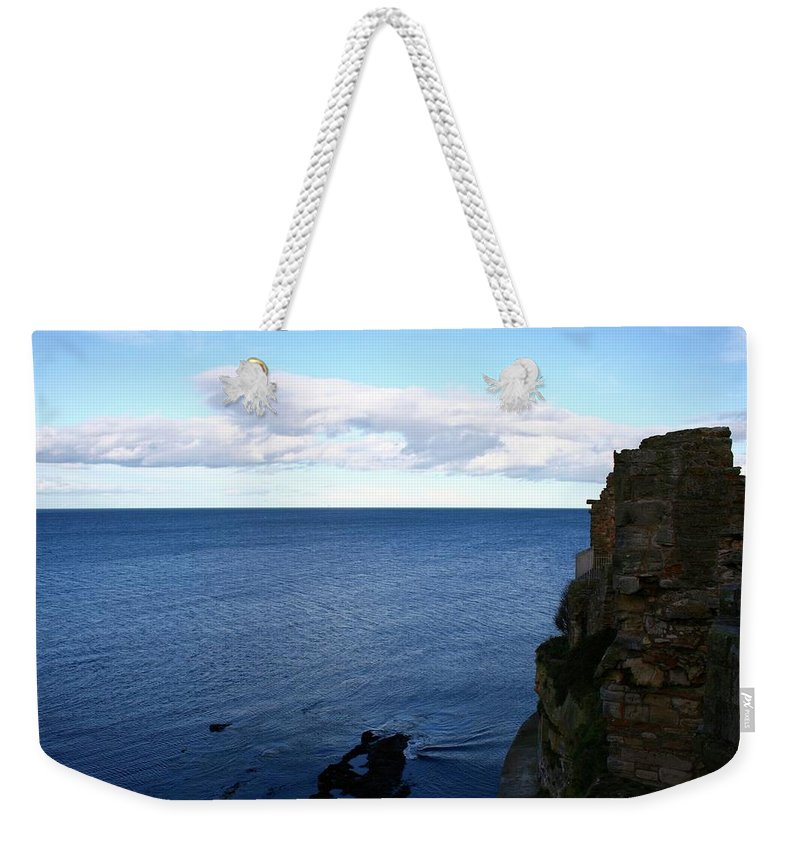 Sea Weekender Tote Bag featuring the photograph View From The Castle by Hannah Goddard-Stuart
