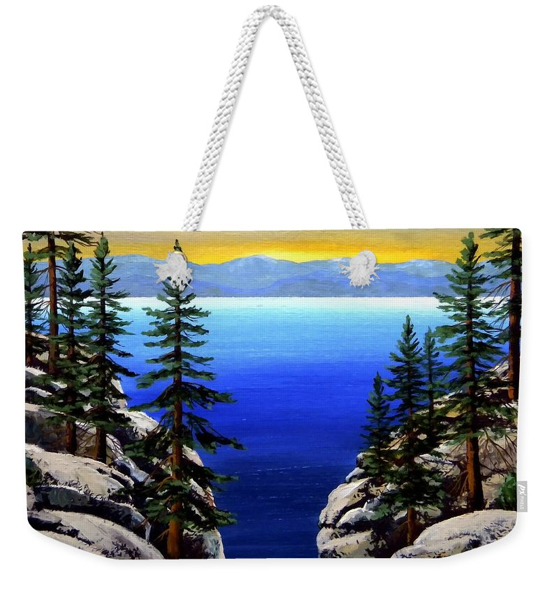 Lake Tahoe Weekender Tote Bag featuring the painting View From The Trail by Frank Wilson