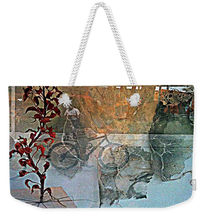 Fania Simon Weekender Tote Bag featuring the mixed media View From The Window by Fania Simon