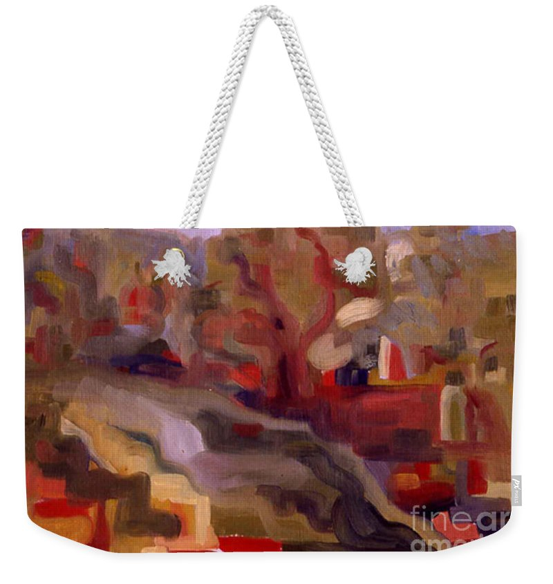 View From Vermont Bridge Weekender Tote Bag featuring the painting View From Vermont Bridge by Pamela Canzano