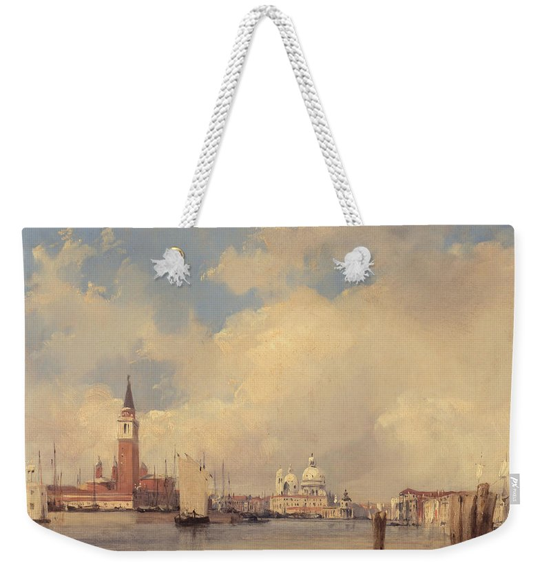 Italy Weekender Tote Bag featuring the painting View In Venice With San Giorgio Maggiore by Richard Parkes Bonington