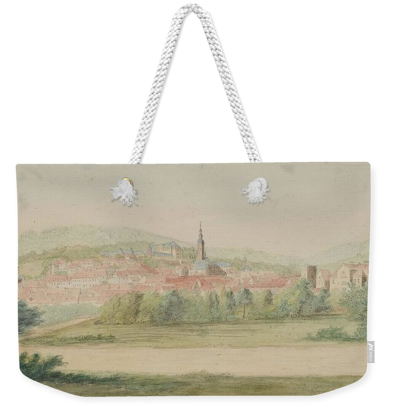 Gottlob Friedrich Thormeyer Weekender Tote Bag featuring the painting View Of A Town In Saxony by Friedrich Thormeyer