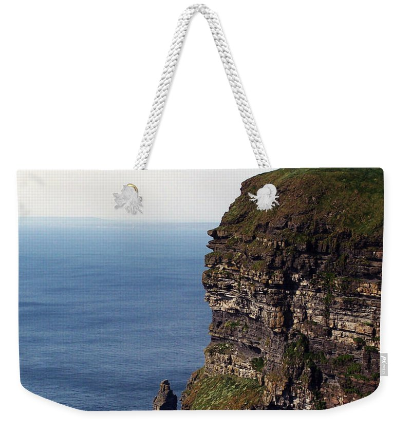 Irish Weekender Tote Bag featuring the photograph View of Aran Islands and Cliffs of Moher County Clare Ireland by Teresa Mucha