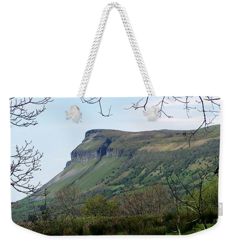 Irish Weekender Tote Bag featuring the photograph View Of Benbulben From Glencar Lake Ireland by Teresa Mucha