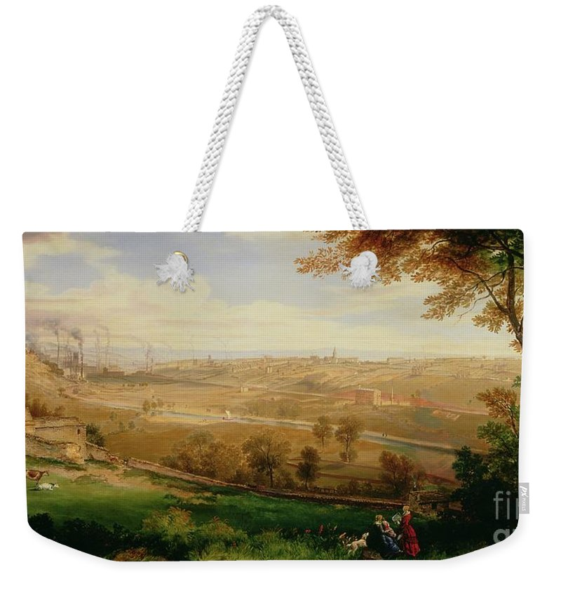 View Weekender Tote Bag featuring the painting View Of Bradford by William Cowen