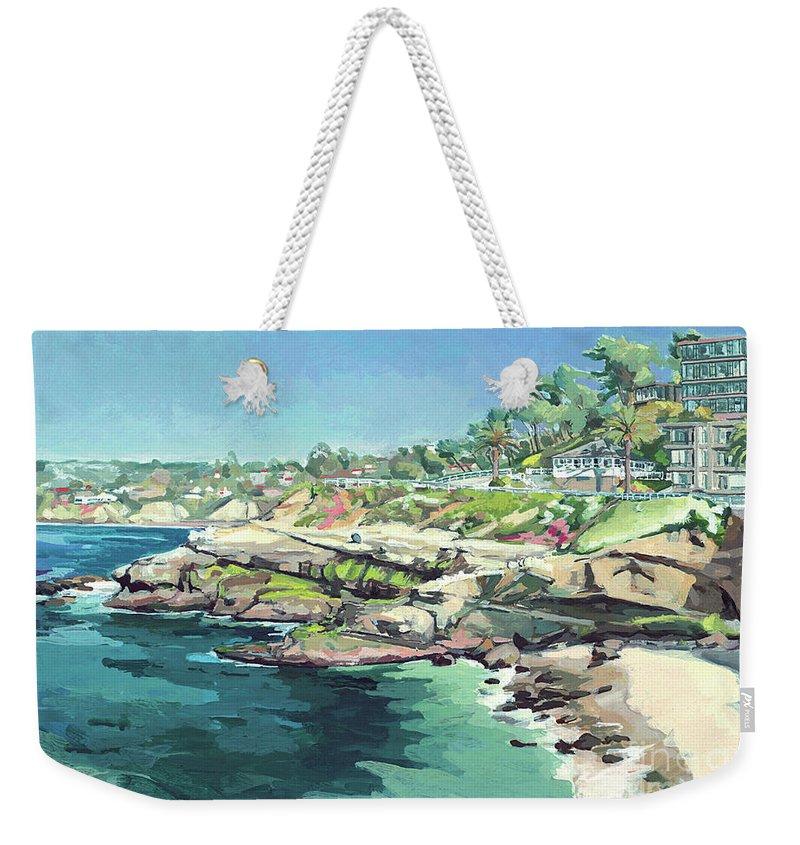 Brockton Villa Weekender Tote Bag featuring the painting View Of Brockton Villa, La Jolla, California by Paul Strahm