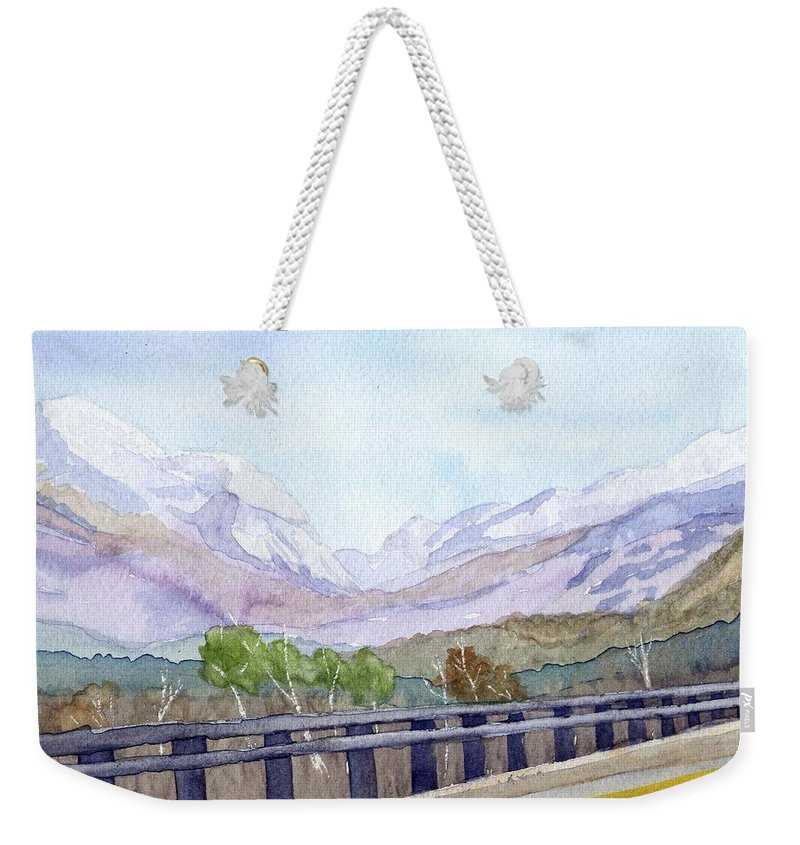 Franconia Notch Weekender Tote Bag featuring the painting View Of Franconia Notch by Sharon E Allen