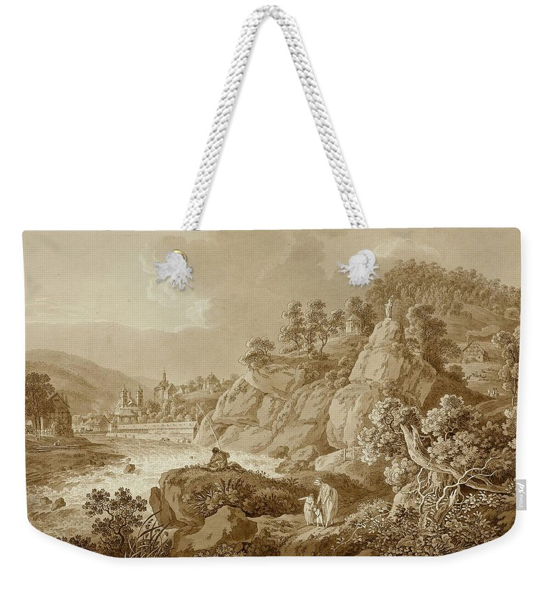 Adrian Zingg Weekender Tote Bag featuring the drawing View Of Karlsbad In The Foreground A Young Mother With Her Children by Adrian Zingg