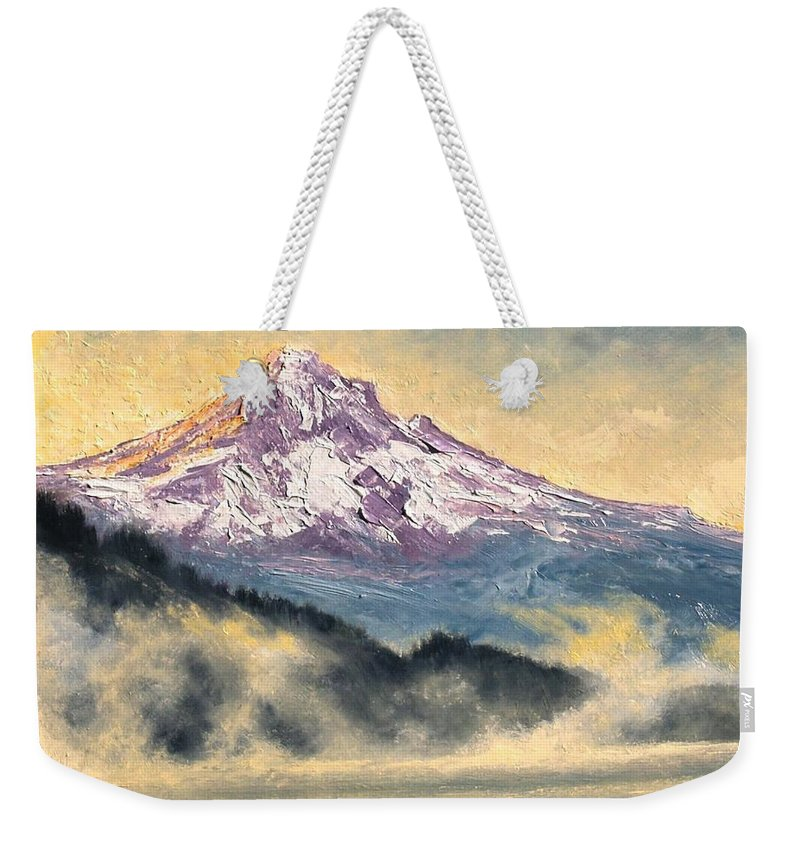 Lanscape Weekender Tote Bag featuring the painting View of Mt Hood by Jim Gola