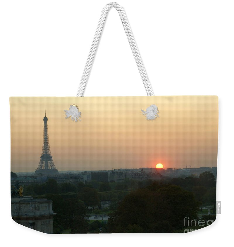Eiffel Tower Weekender Tote Bag featuring the photograph View Of Sunset From The Louvre by Christine Jepsen