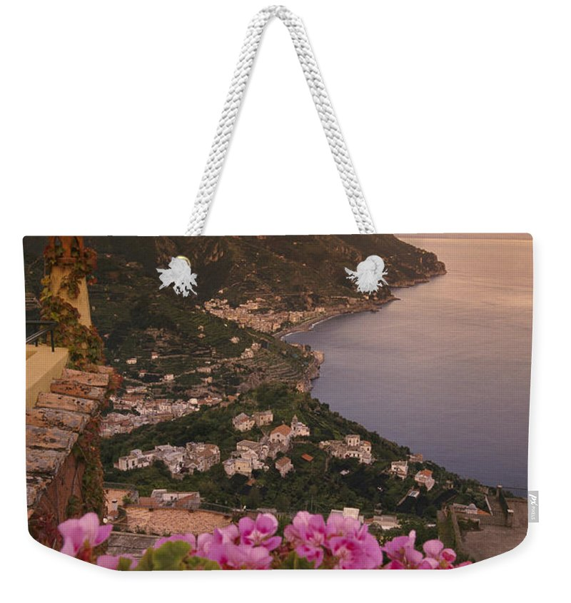 Europe Weekender Tote Bag featuring the photograph View Of The Coastline From The Hotel by Richard Nowitz