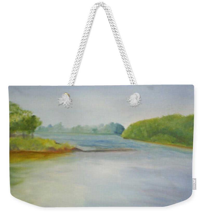 Delaware River Weekender Tote Bag featuring the painting View Of The Delaware by Sheila Mashaw