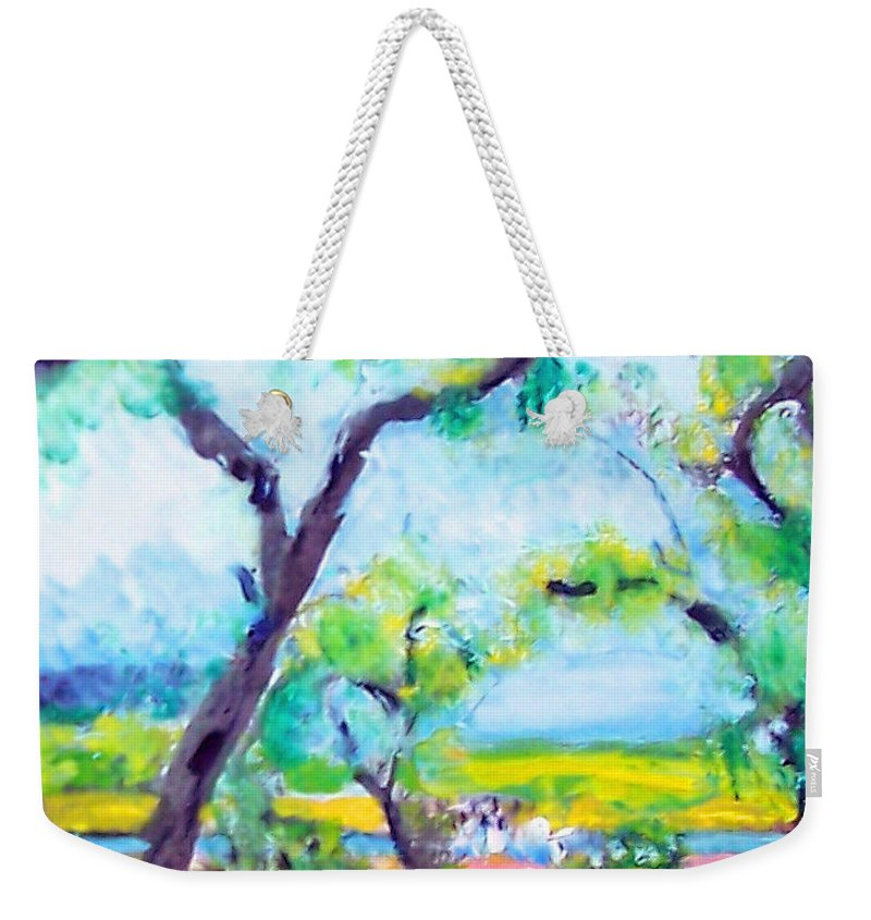 Trees Weekender Tote Bag featuring the mixed media View Of The Marsh by Patricia Taylor