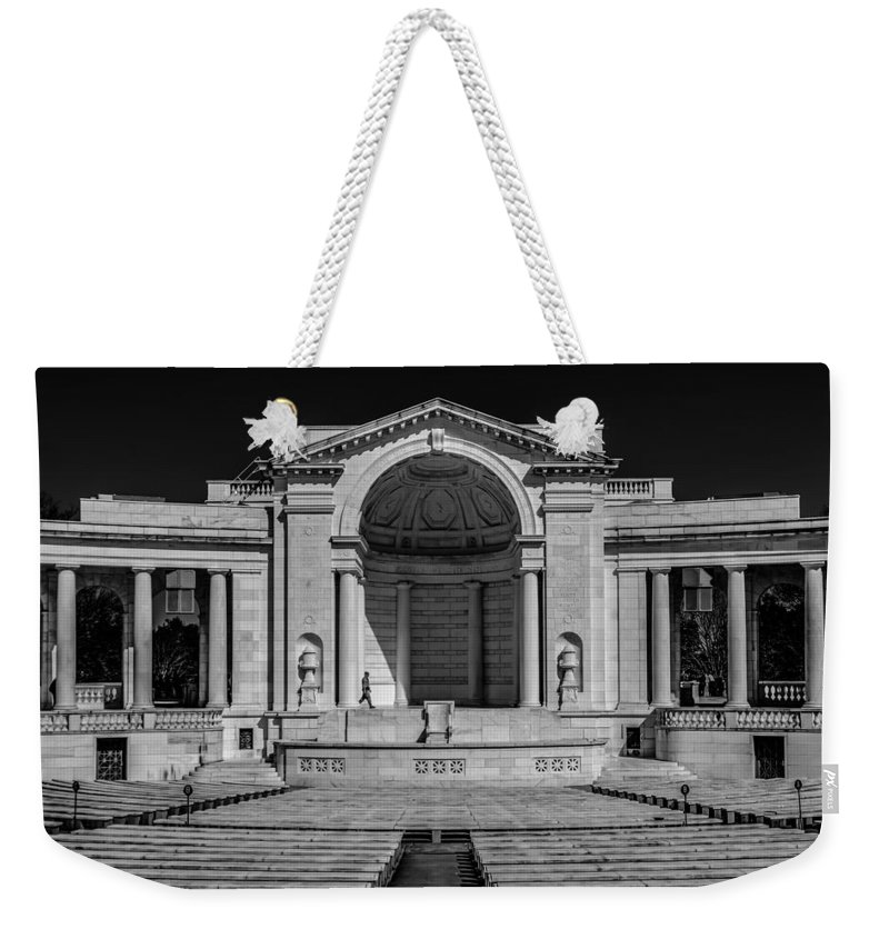 America Weekender Tote Bag featuring the photograph View Of The Memorial Amphitheater At Arlington Cemetery by Alex Grichenko