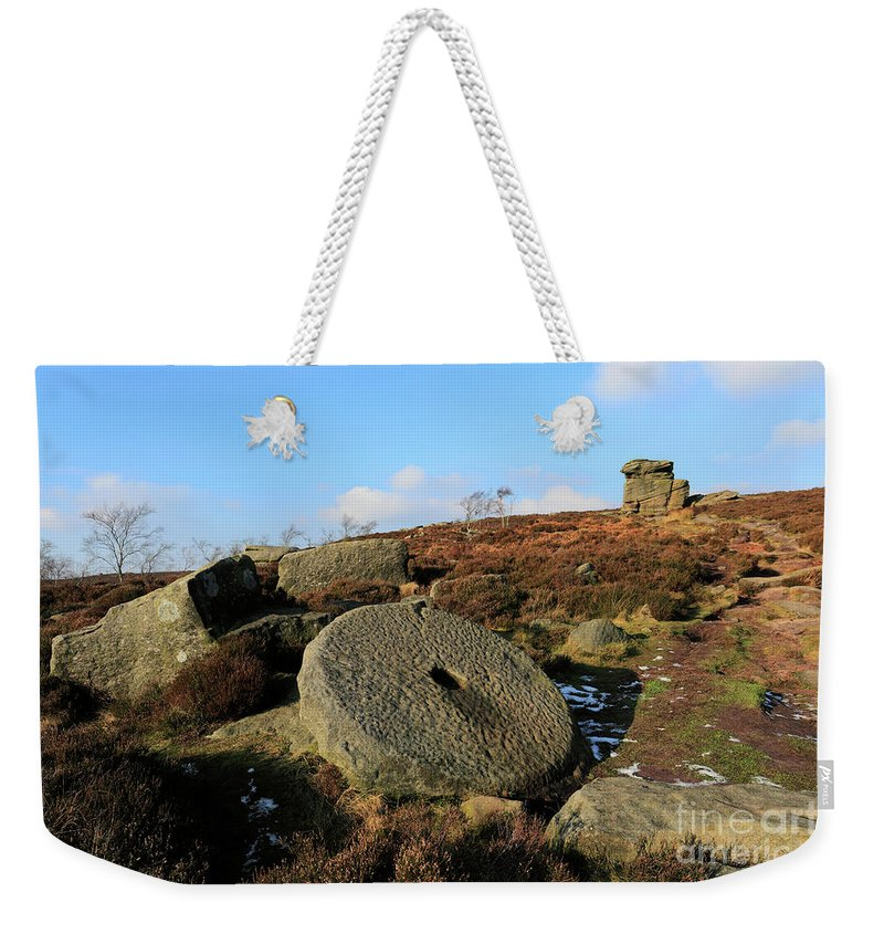 Mother Cap Weekender Tote Bag featuring the photograph View Of The Mother Cap Gritstone Rock Formation, Millstone Edge by Dave Porter