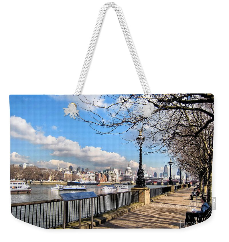 Thames Weekender Tote Bag featuring the photograph View Of The Thames by Madeline Ellis