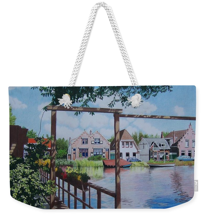 Landscape Weekender Tote Bag featuring the mixed media View On Hillegersberg by Constance Drescher