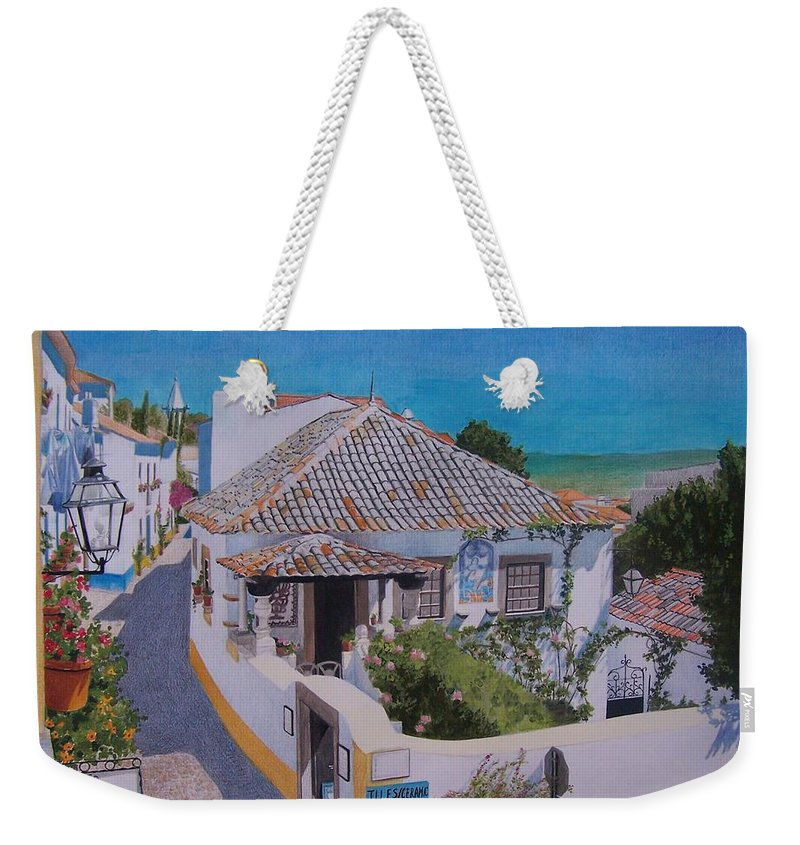 Green Weekender Tote Bag featuring the mixed media View On Obidos by Constance Drescher