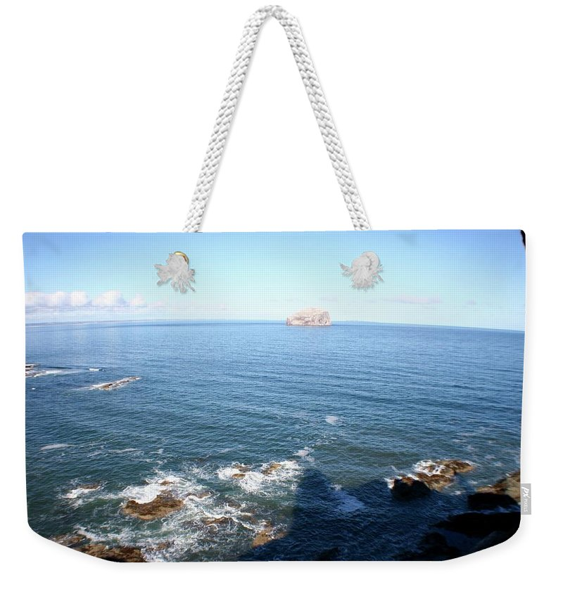 Rock Weekender Tote Bag featuring the photograph View Over Bass Rock by Hannah Goddard-Stuart