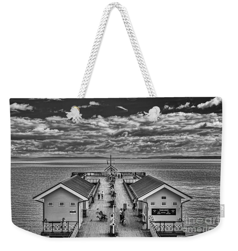 Penarth Pier Weekender Tote Bag featuring the photograph View Over The Pier Mono by Steve Purnell