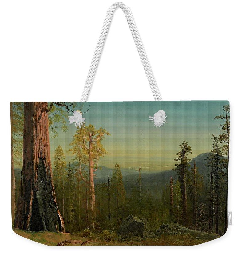 Albert Bierstadt Weekender Tote Bag featuring the painting View Through The Trees by Albert Bierstadt