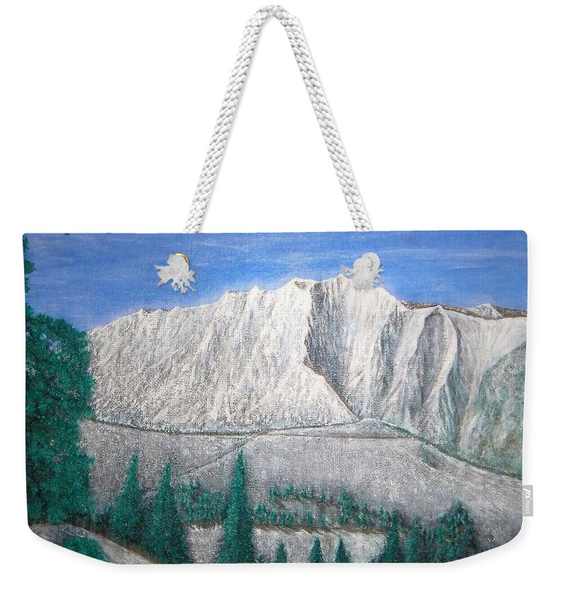Snow Weekender Tote Bag featuring the painting Viewfrom Spruces by Michael Cuozzo