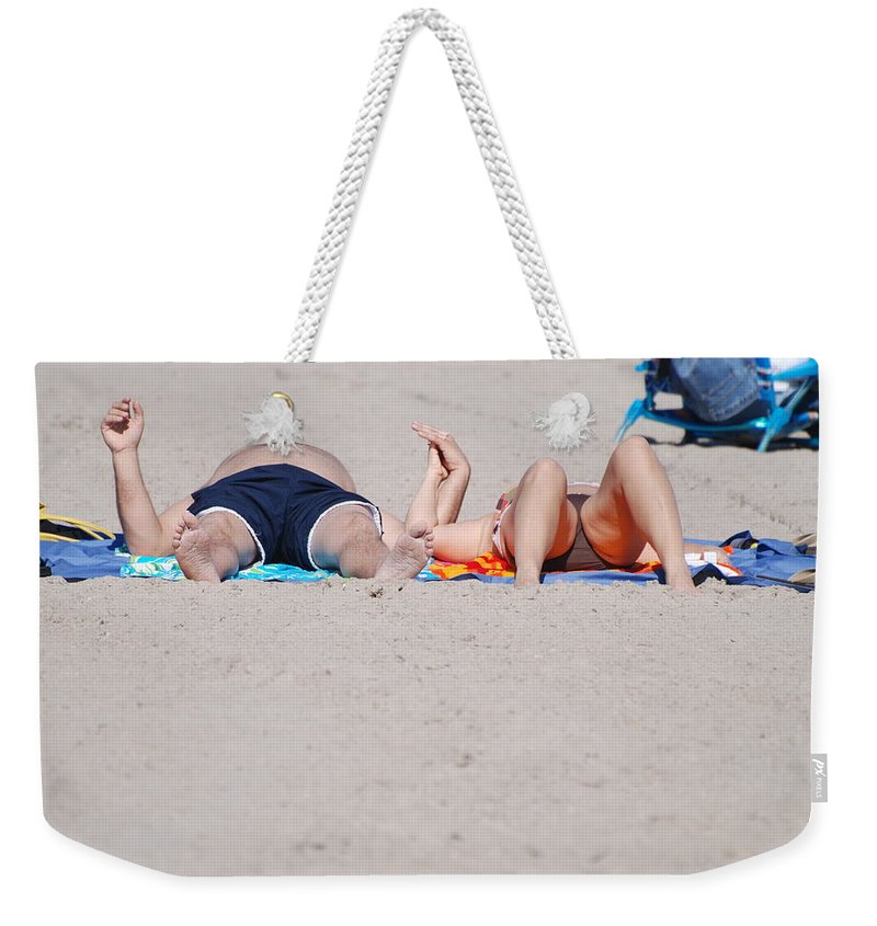 People Weekender Tote Bag featuring the photograph Views At The Beach by Rob Hans