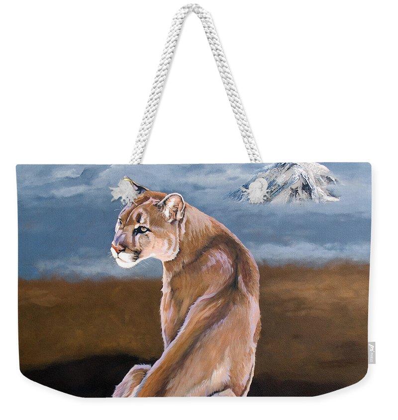 Indigenous Wildlife Weekender Tote Bag featuring the painting Vigilance by J W Baker
