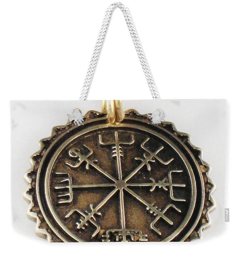 Viking Vegvisir Pendant Weekender Tote Bag featuring the jewelry Viking Bronze Vegvisir Pendant by Virginia Vivier