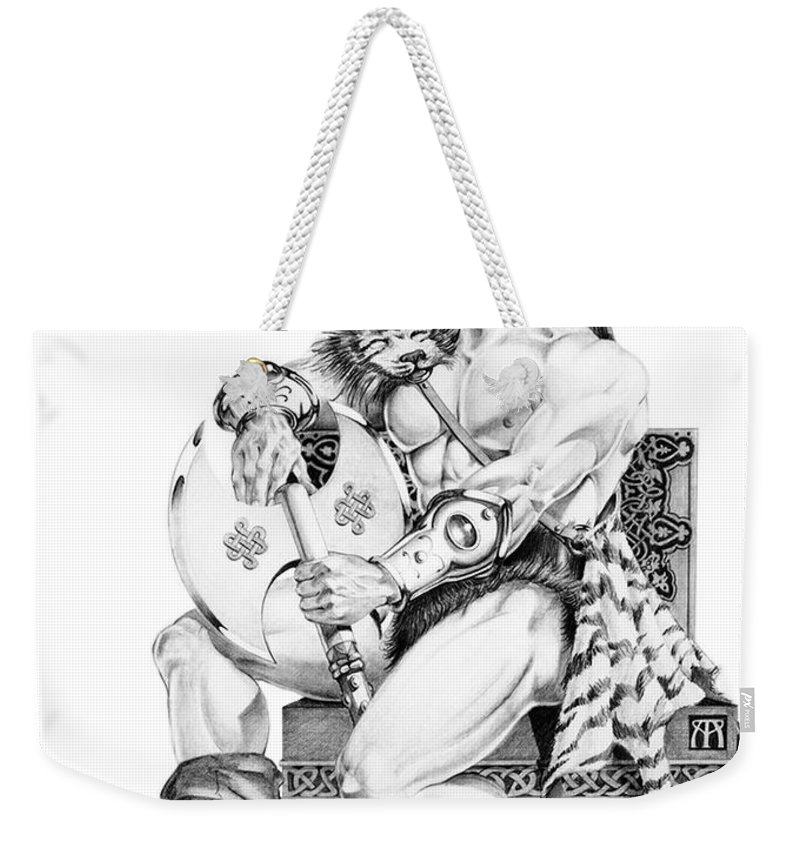 Viking Weekender Tote Bag featuring the painting Viking Warrior by Melissa A Benson