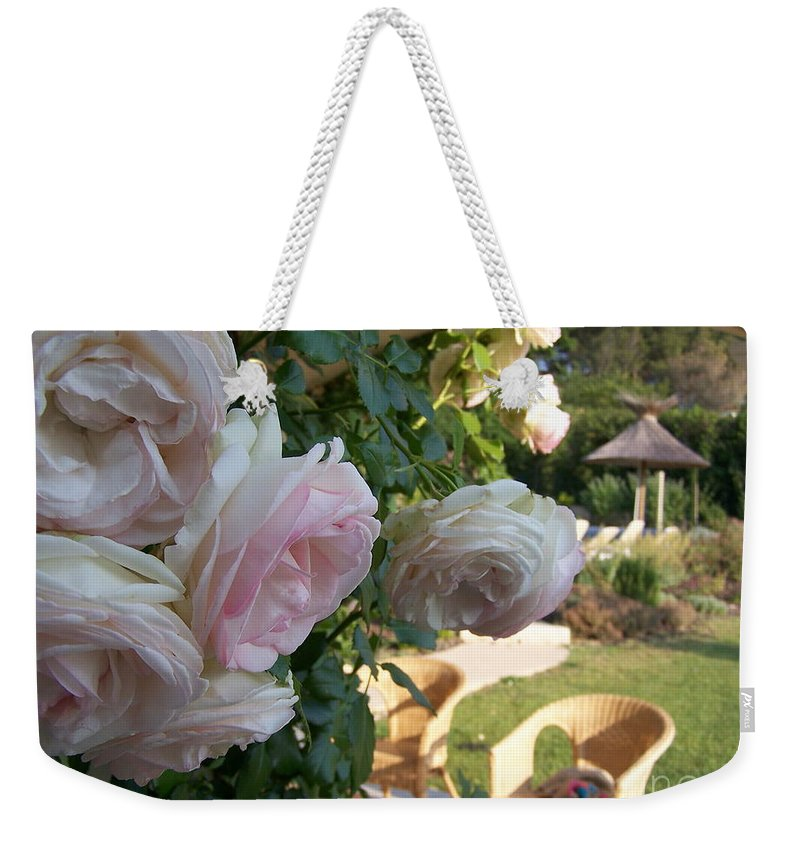 Roses Weekender Tote Bag featuring the photograph Villa Roses by Nadine Rippelmeyer
