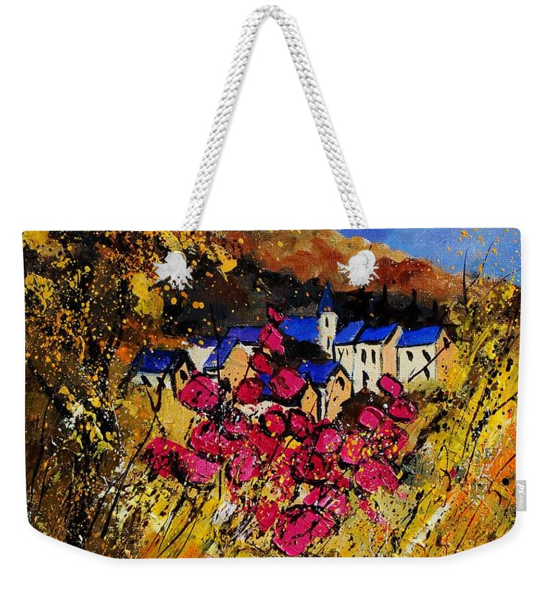 Flowers Weekender Tote Bag featuring the painting Village 450808 by Pol Ledent