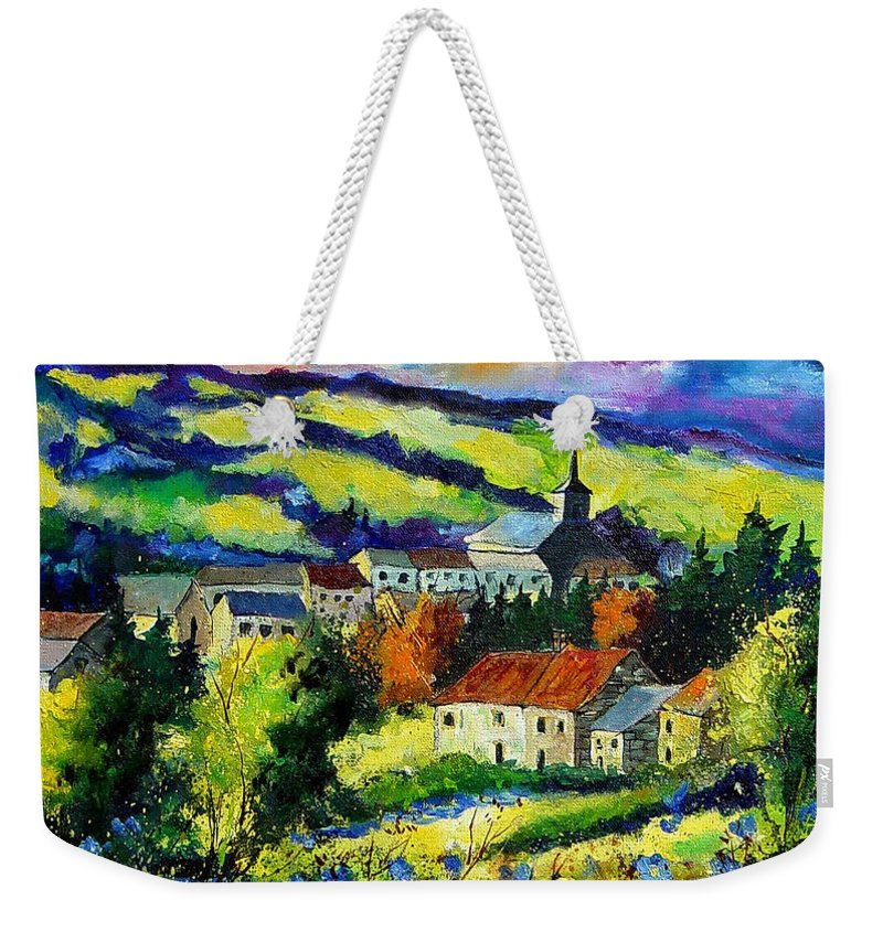 Landscape Weekender Tote Bag featuring the painting Village And Blue Poppies by Pol Ledent