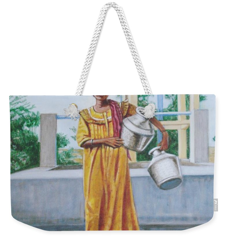 Usha Weekender Tote Bag featuring the painting Village Belle by Usha Shantharam