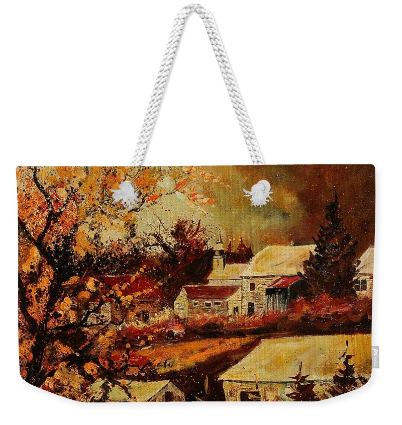 Tree Weekender Tote Bag featuring the painting Village Curfoz by Pol Ledent