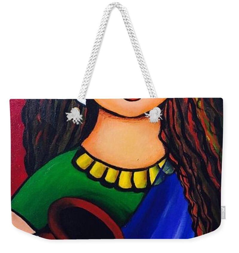 Village Girl Sarada Tewari Acrylic Paint On Canvas 12inchx24inch Weekender Tote Bag