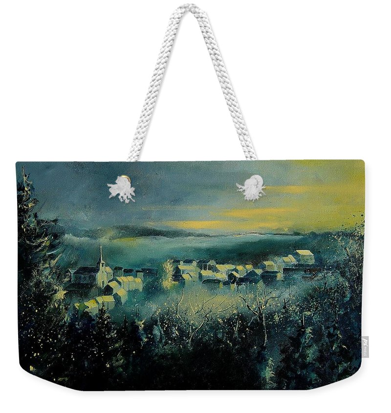 Village Weekender Tote Bag featuring the painting Village In A Misty Morning by Pol Ledent