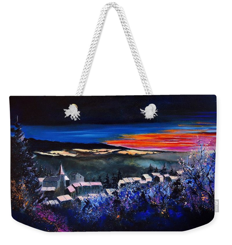 Landscape Weekender Tote Bag featuring the painting Village In A Winter Morninglight by Pol Ledent