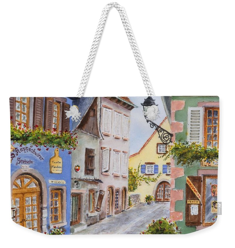 Village Weekender Tote Bag featuring the painting Village In Alsace by Mary Ellen Mueller Legault