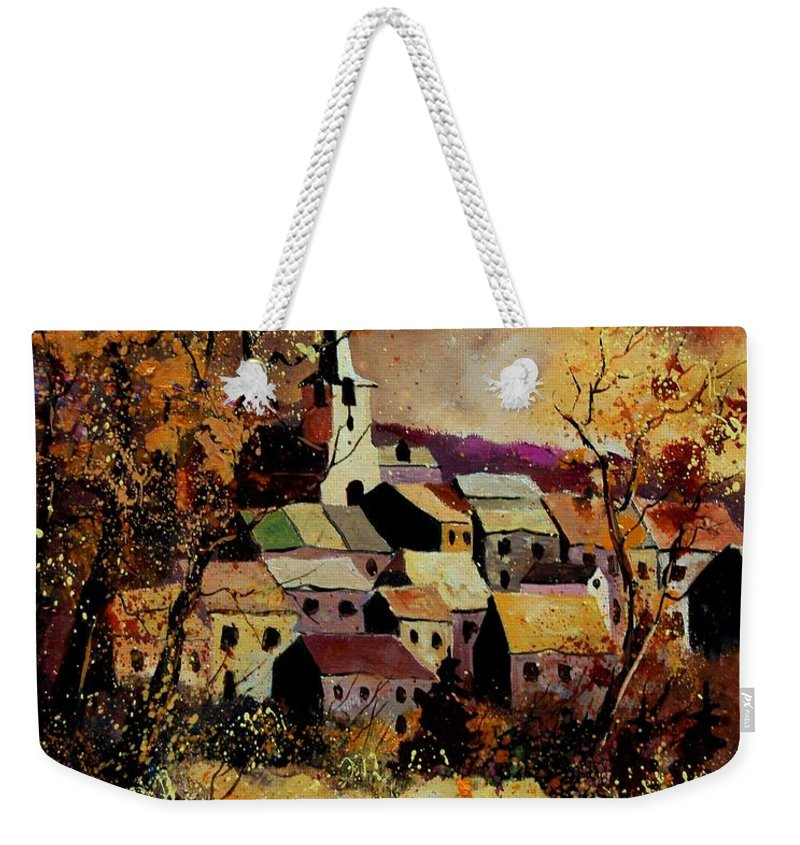 River Weekender Tote Bag featuring the painting Village In Fall by Pol Ledent