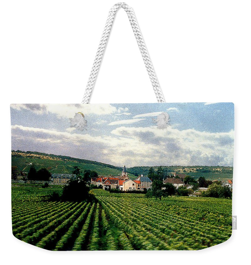 Vineyards Weekender Tote Bag featuring the photograph Village In The Vineyards Of France by Nancy Mueller