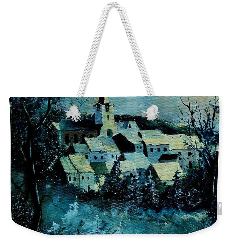 River Weekender Tote Bag featuring the painting Village in winter by Pol Ledent