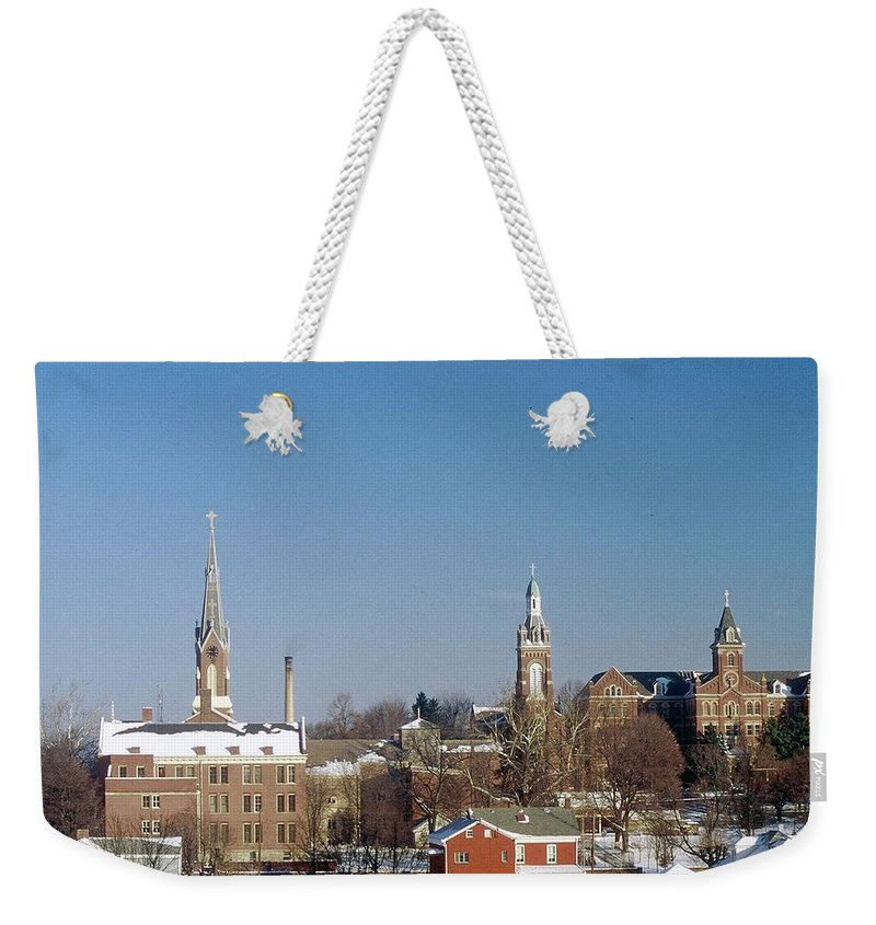 Oldenburg Indiana Weekender Tote Bag featuring the photograph Village Of Spires by Gary Wonning
